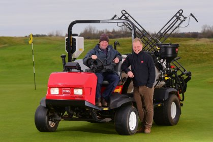 Toro Multi Pro 5800 at Hunstanton Golf Club. Danny Lake from Lely and Peter Read(with hat) from Hunstanton Golf Club.
