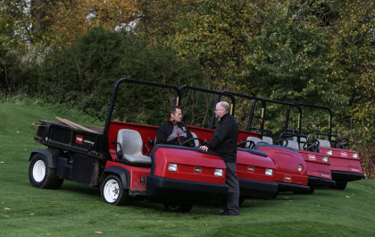 Nigel Broadwith, John O'Gaunt course manager, left, and Lely's Julian Copping, with the club's five Toro Workman