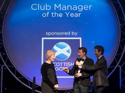 Inaugural Club Manager of the Year David Roy (Crail GS) with one of Scotland's most decorated female amateurs, Belle Robertson (Kevin Kirk)