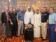 (from left) Andy Stubbs, Malcolm Mackenzie, Ronan Rafferty, H.E Sheikh Sheikh Mohammed Bin Abdulla Al Thani, H.E Marwan Jassim Al Sarkal, Paul Broadhurst, Des Smyth at the launch of the Sharjah Senior Golf Masters presented by Shurooq