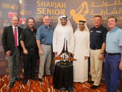 (from left) Andy Stubbs, Malcolm Mackenzie, Ronan Rafferty, H.E Sheikh Sheikh Mohammed Bin Abdulla Al Thani, H.E Marwan Jassim Al Sarkal, Paul Broadhurst, Des Smyth at the launch of the Sharjah Senior Golf Masters presented by Shurooq