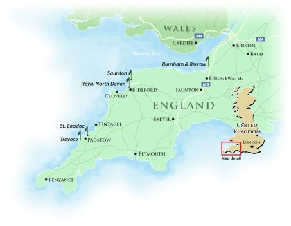 Map of Southwest England featuring England's Atlantic Links