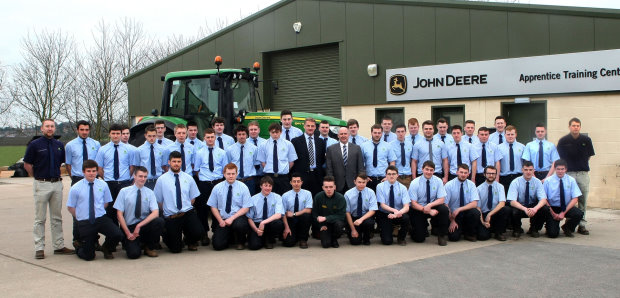 irst year students at the new John Deere Apprentice Training Centre, with John Deere Limited training centre manager Richard Halsall and ProVQ programme manager Ian Crowder (centre left and right), and group trainers Sebastian Gillbard (left) and Benjamin Hobster (right).
