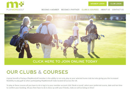PlayMoreGolf website