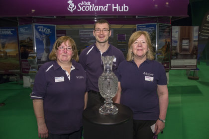 VisitScotland staff with the Solheim Cup trophy at the Scottish Golf Show (photo Kenny Smith)