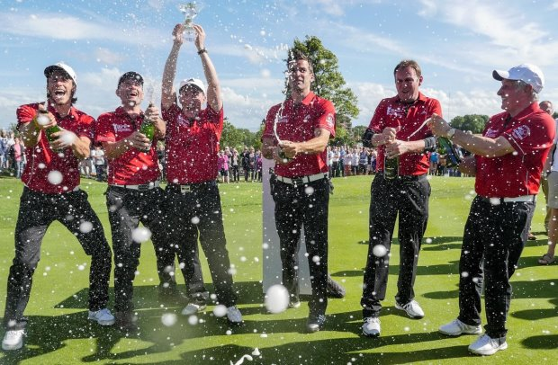 Wales players celebrate winning the Celebrity cup 2015 Celebrity Cup 2015 - Sunday 5th July 2015 - © www.fotowales.com- Ian Cook
