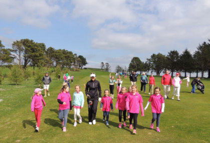 Golf Professional Amy Boulden at the Golf Development Girls Clinic, Carmarthen Golf Club
