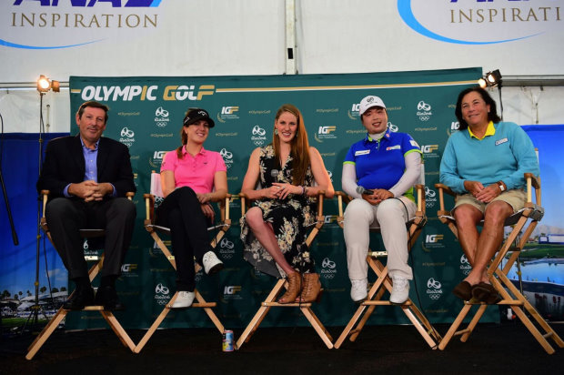 (from left): Anthony Scanlon, Sandra Gal, Missy Franklin, Shanshan Feng and Amy Alcott (photo credit Gabriel Roux)
