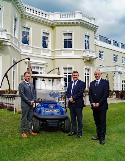 (from left) Stephen Turner, Director of Golf at Bradshaw; Burhill GC General Manager Matthew Hazelden; and Club Car's Kevin Hart