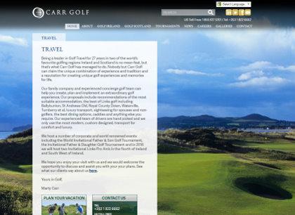 Carr Golf Travel website