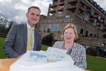 Celtic Manor Resort Chief Executive Ian Edwards and Welsh Government Minister for Economy, Science and Transport Edwina Hart with a model of how the new Wales International Convention Centre at Celtic Manor will look