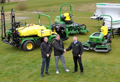 Greenkeeper superintendent Sean Reilly and co-owner Mark Ward of Lough Erne Golf Resort with grounds care machinery sales manager Ricky Neill of John Deere dealer Johnston Gilpin