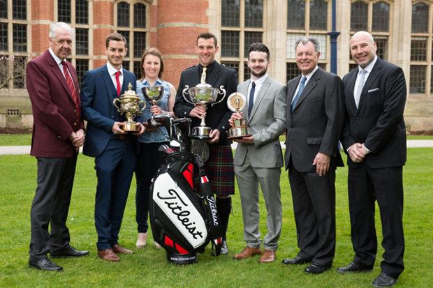 (l-r): PGA Captain Nicky Lumb, Jamie Carney, Harriet Key, Keir McNicoll, Daniel Leeke, Bernard Gallacher and Titleist's Matthew Johnson (photo Dave Warren/Picture Team)
