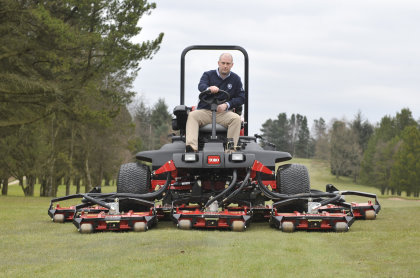 Course manager Mark Crossley on the club's new Toro Groundsmaster 4700-D