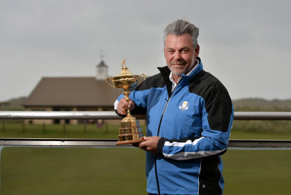 The Ryder Cup Trophy Tour was officially launched by Clarke at Royal Portrush Golf Club, Northern Ireland. . (Photo by Charles McQuillan/Getty Images)