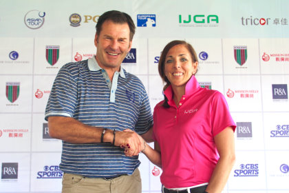 Sir Nick Faldo, founder of the Faldo Series, and Ryley Hendry, CEO of the International Junior Golf Academy (IJGA), following the appointment of IJGA as the Official Golf Academy Partner of the Faldo Series