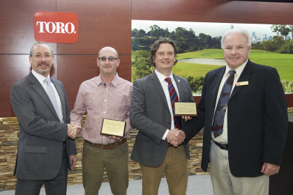 Student Greenkeeper of the Year Award winner 2015 Stephen Thorne, second from right, shakes hands with Barry Beckett, senior marketing manager from The Toro Company, and Stephen's tutor at Myerscough College Nick Lush, second from left, shakes hands with David Cole, managing director at Lely Turfcare