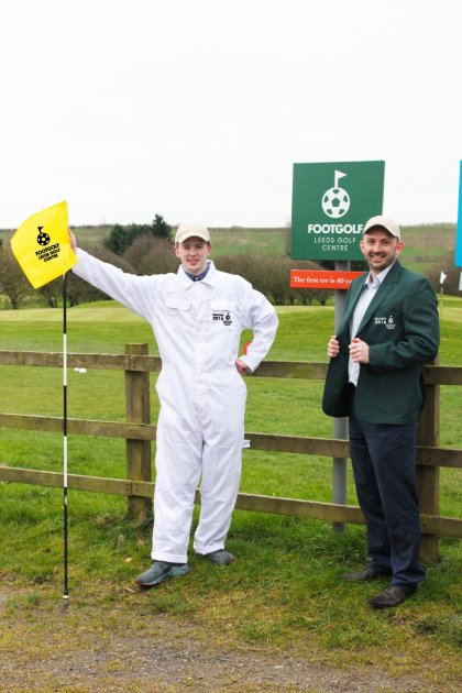 The famous Green Jacket and White Caddy Suit ready for the Footgolf Masters at Leeds Golf Centre