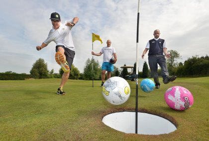 LAST Footgolf at the Shropshire Golf Centre near Telford SHROPSHIRE STAR STEVE LEATH COPYRIGHT EXPRESS AND STAR Trying it our L-R: Mark Shervill (Golf School Manager) from Madeley, Reggie Boycott from Ketley and General Manager: Stuart Perry. With Video.