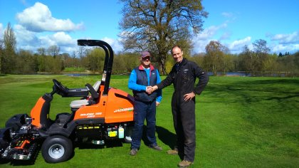 Head Greenkeeper, Malcolm Mitchell, with Jacobsen UK Direct Regional Sales Manager, Bruce Alexander