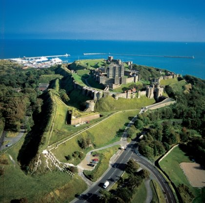 Dover Castle built on the iconic White Cliffs