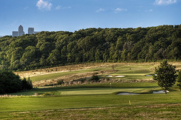Farleigh Golf Club with London's Canary Wharf in the background