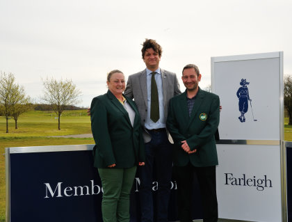 (from left) Angie Izatt (member), Russell Stebbings (General Manager ) and Boyson Mehmet (member) – Angie and Boyson won the Green Jackets for the Farleigh Members Major competition