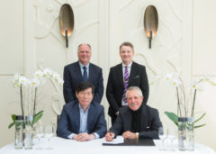At frontMr Songhua Ni, President of Reignwood Group and Gary Player; rear Kenny MacKay and Stephen Gibson, Wentworth Club