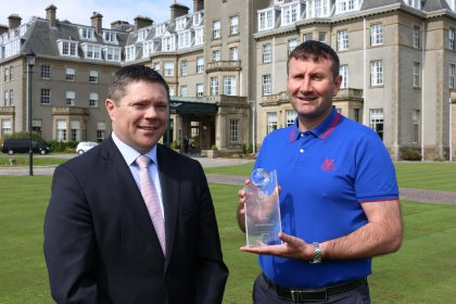 Paul Heery, Gleneagles General Manager (left) and Gary Silcock, Gleneagles Director of Golf with the award