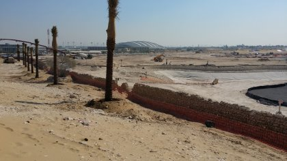 Historic Wadi wall protected and incorporated within the golf course