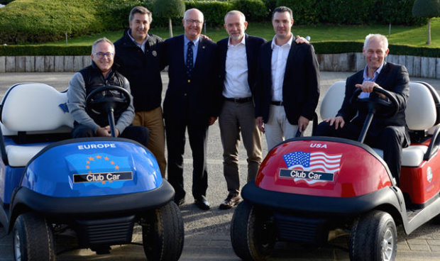 (from left) Paul Armitage, General Manager at Le Golf National, Ricardo Muelas, Regional Sales Manager at Club Car, Jean Lou Charon, President of the French Golf Federation, Marco Natale, Vice President of Club Car in EMEA, Nicolas Le Glas, Sales Manager at ORA Véhicules Electriques and Kevin Hart, Club Car Sales Director Golf in EMEA