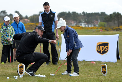 UPS Ambassador Lee Westwood at a local schools golf clinic as he hands over Ping junior golf sets during the Bags 4 Birdies Campaign at Royal Troon on May 6, 2016 in Troon, Scotland. (Photo by Mark Runnacles/Getty Images for UPS)