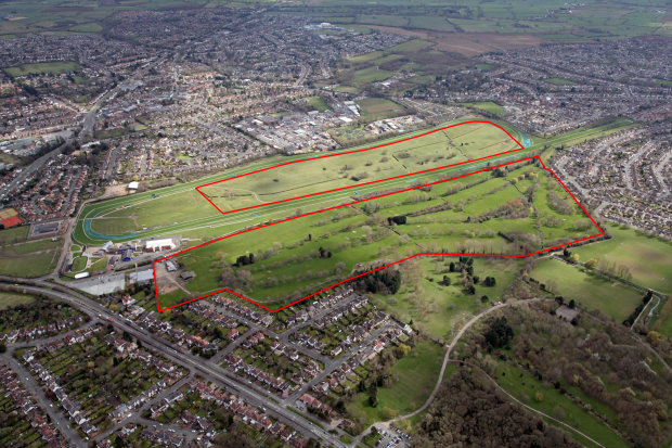Oadby aerial - Site Edged Red
