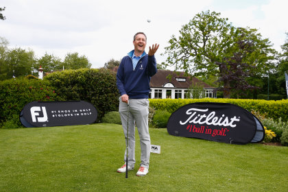 Paul Creamer of Foxhills Golf and Resort poses for the camera after he gets a Hole in One during the Titleist & FootJoy PGA Professional Championship South Qualifier at Woodcote Park Golf Course   (Photo by Christopher Lee/Getty Images)
