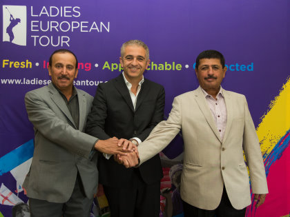 from left: Mohammed Faisal Al Naimi, Executive Director of the Qatar Golf Association, Ladies European Tour CEO Ivan Khodabakhsh and Fahad Nasser Al Naimi, General Secretary of the Qatar Golf Association launch the 2016 Qatar Ladies Masters