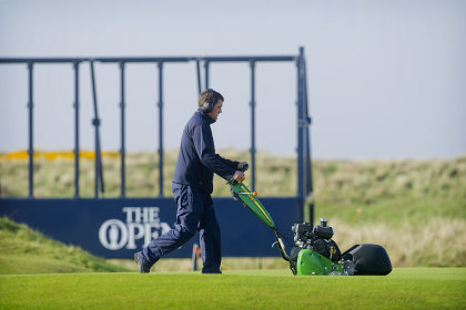 John Deere 220SL walk behind mower, in preparation of The Open 2016, Royal Troon Golf Club.