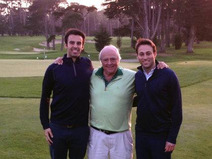 (from left) Arthur de Rivoire (cofounder at All Square), Robert Trent Jones Jr. and Patrick Rahmé (cofounder at All Square) at San Francisco Golf Club