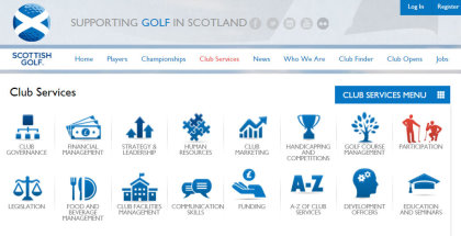 Scottish Golf Club Services Menu