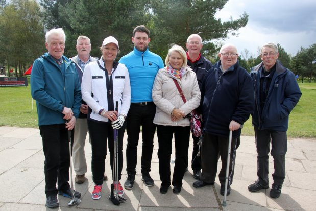 (from left) Malcolm Woolley, Philip Harper, Dianne Williams, Alex Heler (golf coach), Dawn Baker, Graham Payne, Richard Ryan and Alan Gresty