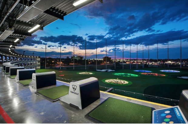 A Topgolf tee line and outfield in the United States