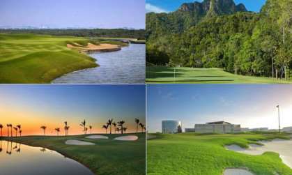 Award winners (clockwise from top left)Al Zorah Golf Club, Els Club Malaysia Teluk Datai, The Royal Club Bahrain, The Allegria