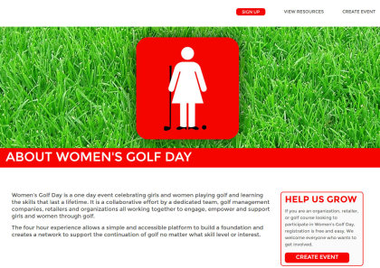 Women's Golf Day web page