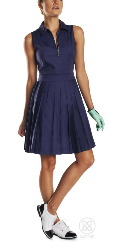 "Sunday zip dress, suited to those looking for ""nine and wine"" at the country club with a polished nickel Riri zipper, tailored waist and pleated skirt"