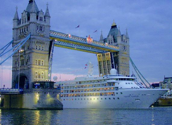 Silversea Cruise ship passing Tower Bridge, London (courtesy of Silversea Cruises)