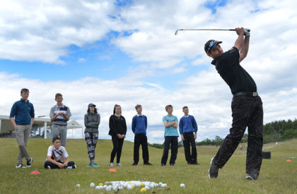 Challenge Tour professional Peter Whiteford leads a coaching clinic at the SSE Scottish Hydro Challenge, hosted at the award-winning Spey Valley Golf Course at the Macdonald Aviemore Resort (Getty Images)