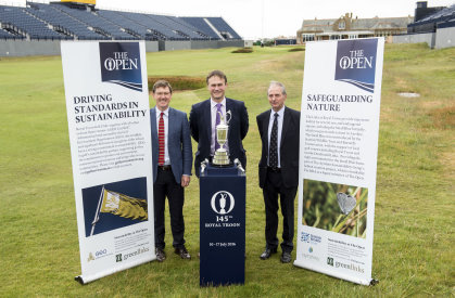 Jonathan Smith, Chief Executive GEO; Johnnie-Cole Hamilton, Executive Director – Championships The R&A; David Brown, Environmental Advisor Royal Troon Golf Club (photo credit The R&A)