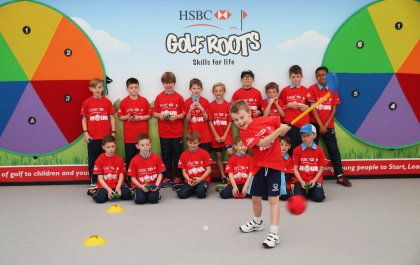 HSBC Golf Roots activity during the Pro-Am prior to the BMW PGA Championship at Wentworth on May 25, 2016