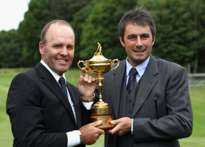 Past Ryder Cup players Thomas Levet and Jean Van de Velde of France (Photo by Bryn Lennon/Getty Images)