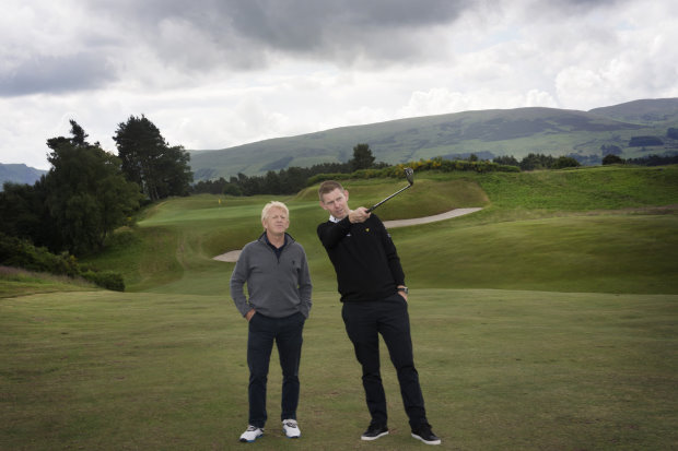 Stephen Gallacher and Gordon Strachan at the 9th hole of The King's (photo credit Julie Howden/Gleneagles)