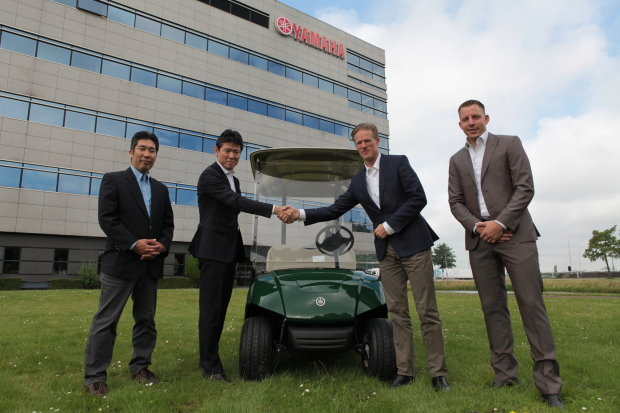 (from left) Kentaro Makino (Area Product Coordinator Golfcars and Power Products); Kazuhiro Kuwata (President of Yamaha Motor Europe N.V.); Lodewijk Klootwijk (CEO of the EGCOA) and Bart Lanser (Area Product Coordinator Golfcars and Power Products)